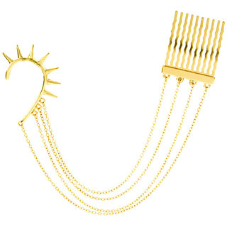 Punk Style Spike Tassels Ear Cuff With Extended Hair Comb (Left Ear)