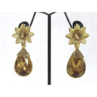Golden Flower Stone Drop Earring