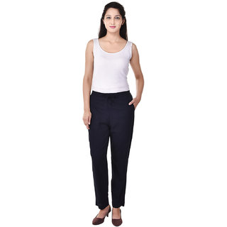 Vasavi Navy Flat Plain Womens Trouser