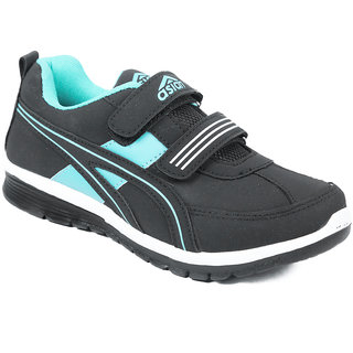 Asian Women Black And Green Velcro Sports Shoes