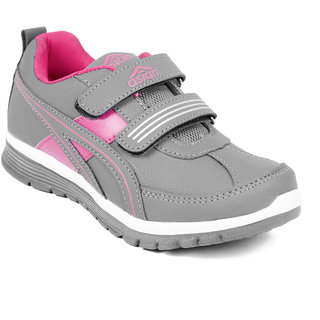 Asian Women Gray And Pink Velcro Sports Shoes