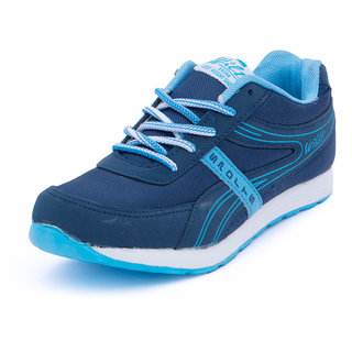 Asian Women Navy And Sky Blue Lace-up Sports Shoes