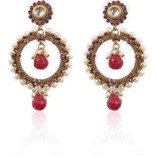 Rajwada Arts Oxidized Metal And Red Stone Earrings