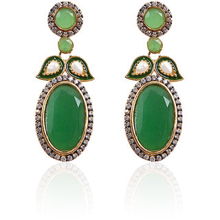 Gold Plated With American Diamond And Green Stone