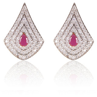 American Diamond Earrings With Red Stone