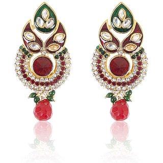 Rajwada Arts Beautiful Earringss With Red Stone And American Diamond