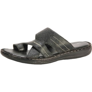Truman Polished Leather Men Sandal (Black)