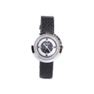 Fidato New Women's Black Strap Watch White Dial