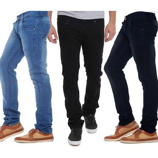 Stylox Mens Multicolor Slim Fit Jeans (Pack of 3)
