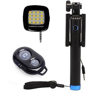 Techvik Combo of Locust Aux Selfie Stick + External 16 LED Selfie Night Flash Light + Selfie Remote Control Shutter