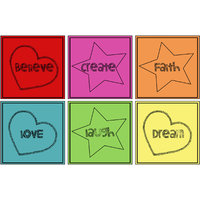 10 Am Words Coasters (set Of 6 - Sunboard)