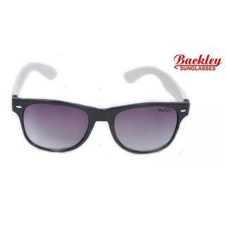 Backley BS-1925 Black WHITE Wayfarer Unisex Sunglasses