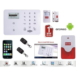 Model D9 With 1 Door+ 1 PIR Sensor + 2 Remote + Siren Touch Screen Smart Phone IOS/ Android Mobile App Wireless Sensor Security System