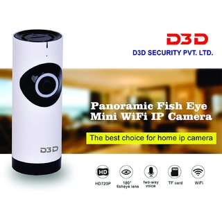 D3D Wireless Fisheye Vision 180 Panoramic IP Camera CCTV Security Home Surveillance Camera (Support Upto 128 GB SD Card) (White Color)
