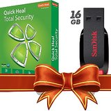 (Combo) Quick Heal Total Security (1 User 1 Year) & Sandisk 16 GB Cruzer Blade