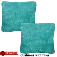 Handloomhub Stylish Design Cuhions With Fillers (Set Of 2)-Light Green