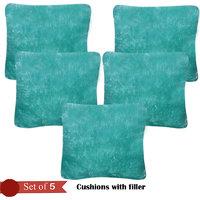 Handloomhub Stylish Design Cuhions With Fillers (Set Of 5)-Light Green