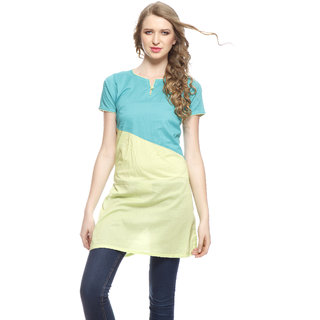 Turquoise Blue And Light Green Ladies Kurta