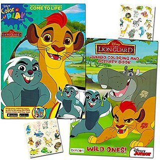 Lion Guard Coloring Book Super Set -- 2 Lion Guard Books  2 Safari Sticker Sheets