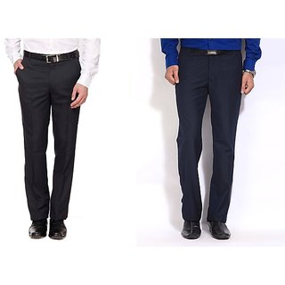 Inspire Combo Of Black & Blue Formal Trousers