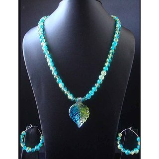 Excellent Looking Necklace With Multi Color Blue Green Crackled Glass Beads