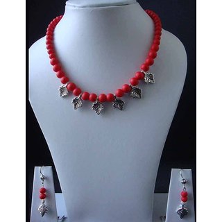 Beautiful Necklace With Red Matte Finish Beads Beautified With Leaf Charms