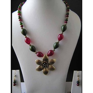 Necklace With Ruby And Jade Color Imitation Beads With Antique Gold Finish
