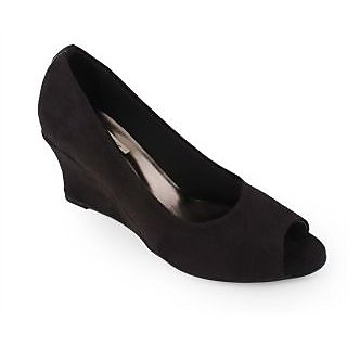 Indulgence-1004-Black Wedge Heeled Peep-Toes
