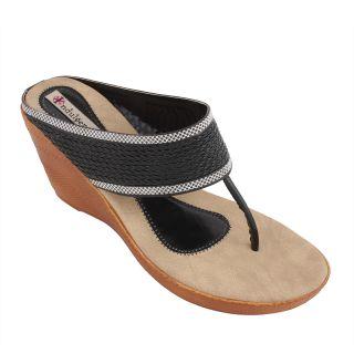 Indulgence-1021-Black Slip-On With Wedge Heels