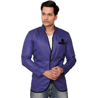 Kandy Solid Party Wear Blue Blazer