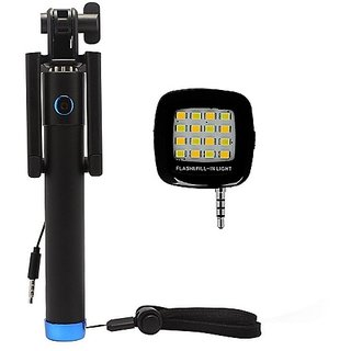 De-Techinn Combo of Locust Selfie Stick Monopod With 3.5MM Aux Cable + Universal 16 LED Selfie Night Flash Light