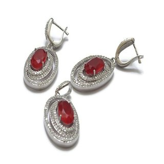 PENDANT EARRING JEWELLERY SET IN PURE 925 STERLING SILVER WITH ZIRCON & RUBY