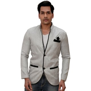 Kandy Solid Party Wear Silver Blazer