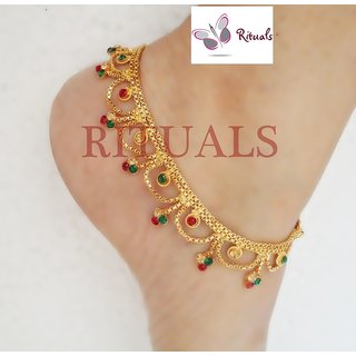 Rituals  CZ Diamonds Gold Plated Anklets
