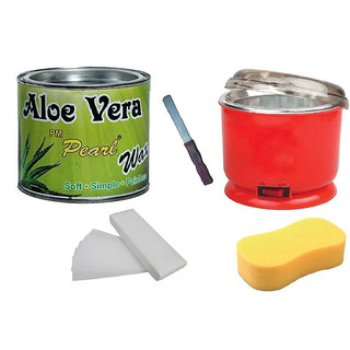 Aloevera Wax For Hair Removal 90 Wax Strips With Auto Cut Heater Sponge Free Knife