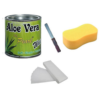 DDH Aloe Vera Hot Body Wax 600Gm For Hair Removal +90 Wax Strips + Sponge With Free Knife