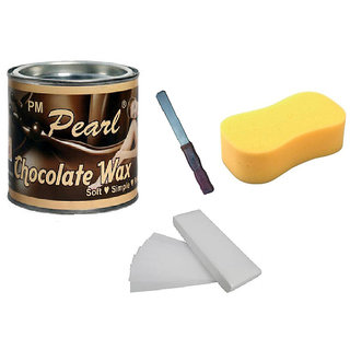 DDH Choclate Hot Body Wax 600Gm For Hair Removal +90 Wax Strips + Sponge With Free Knife
