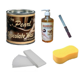 DDH Choclate Hot Body Wax For Hair Removal +90 Wax Strips + After Wax Gel + Sponge With Free Knife