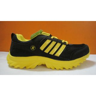 Sport Shoes For Men In Black Yellow Coloured