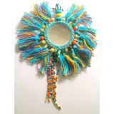 Beautiful Wall Hanging With Mirror Tassels And Thread Work.AQUA GLITZY BY ROOHIE