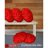 Handloomhub Stylish  Round Shape Cuhions With Fillers (Set Of 5)-Red