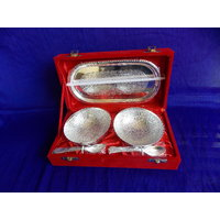 Brass Silver Plated 2 Bowl Set  With 2 Spoon's & 1 Tray With Velvet Box.