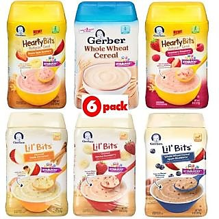 Gerber Cereal Combo 227G (8oz) (Pack of 6) - 2 Hearty Bits + 3 Lil Bits + Whole Wheat Cereal