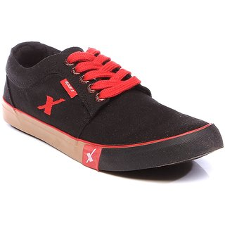 Sparx Mens Black Lace-up Sneakers