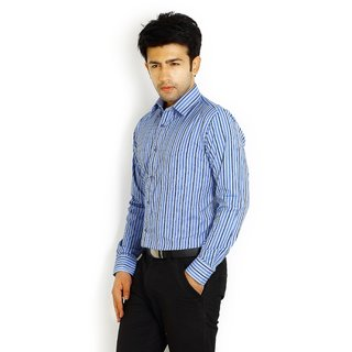 Solemio Blue Formal Slim Fit Lining Shirt 1042 BU