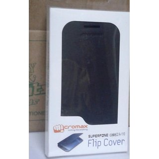 BLACK LEATHER FLIP COVER CASE POUCH FOR MICROMAX A110 CANVAS 2 SUPERPHONE