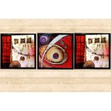 HS Arts Laminated MDF Maroon And Silver Abstract Art Painting Set Of 3