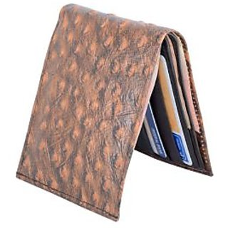 Holboro Mens Ostrich Embossed Genuine Leather Bifold Wallet-Brown