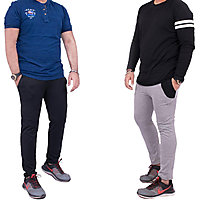 Combo of 2 Men's Grey  Black Active Track Pants