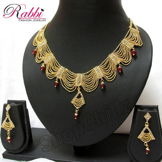 Rabbi Gold plated Frill & Pop Necklace Set Rani Haar NK08RANI